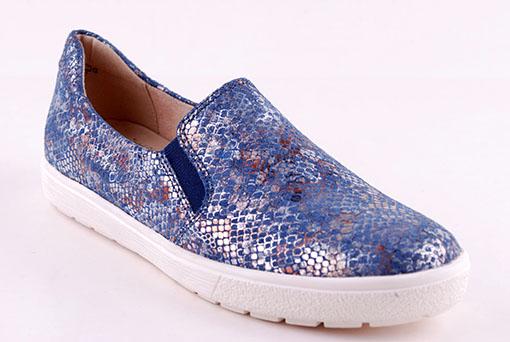 Sneakers reptilmönstrat läder blå
